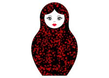 Matryoshka icon Russian nesting doll with red ornament  , vector isolated.  Royalty Free Stock Photos