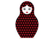Matryoshka icon Russian nesting doll with red stars ornament  , vector isolated.  Stock Photos