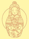 Matryoshka japan style hand drawn vector Royalty Free Stock Images
