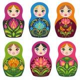 Matryoshka lale Rosyjskie pamiątki Wektorowa kolekcja Obrazy Stock