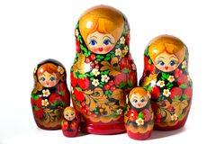 Matryoshka-Puppe auf weißem Hintergrund Stockfotografie