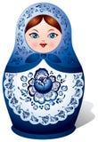 Matryoshka Puppe mit Gzhel Verzierung Stockfoto