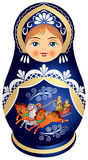 Matryoshka Puppe mit russischer Troika Stockbilder