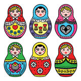 Matryoshka, Rosyjskiej lali kolorowe ikony ustawiać Obrazy Stock