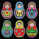 Matryoshka, Russian doll colorful icons set on black Stock Images