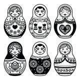 Matryoshka, Russian doll icons set Royalty Free Stock Photos
