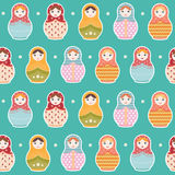 Matryoshka Russian doll seamless repeating pattern on blue background - vector illustration Royalty Free Stock Image