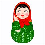 Matryoshka Russian doll vector illustration. Vertical vector illustration of a Russian doll nested doll on a white background Stock Image
