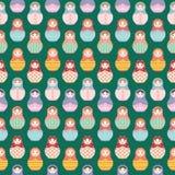 Matryoshka Russian dolls repeating seamless background pattern -  flat style vector illustration Royalty Free Stock Photography