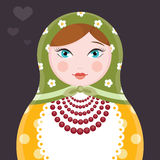 Matryoshka Russian nesting doll single icon illustration - flat style vector card on dark background Royalty Free Stock Image