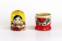Matryoshka Russian Nesting Dolls. Isolated shot of an open Russian Matryoshka nesting doll (Babushka) with copy space Royalty Free Stock Photography