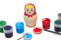 Matryoshka - russian souvenir. Hand made matryoshka russian doll. Traditional souvenir Stock Images