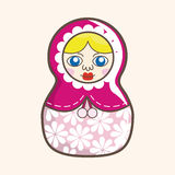 Matryoshka , Russian traditional wooden doll, vector pattern, el Royalty Free Stock Photography