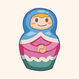 Matryoshka , Russian traditional wooden doll, vector pattern, el Stock Photography