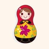 Matryoshka , Russian traditional wooden doll, vector pattern, el Royalty Free Stock Photo