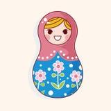 Matryoshka , Russian traditional wooden doll, vector pattern, el Stock Image