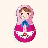Matryoshka , Russian traditional wooden doll, vector pattern, el. Ements,eps,vector illustration file Royalty Free Stock Photography