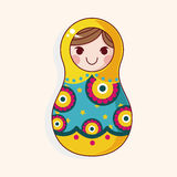 Matryoshka , Russian traditional wooden doll, vector pattern, el Stock Photos