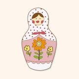 Matryoshka , Russian traditional wooden doll, vector pattern, el Stock Images