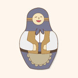 Matryoshka , Russian traditional wooden doll, vector pattern, el Royalty Free Stock Images