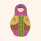 Matryoshka , Russian traditional wooden doll, vector pattern, el Stock Photography