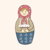 Matryoshka , Russian traditional wooden doll, vector pattern, el Royalty Free Stock Photo
