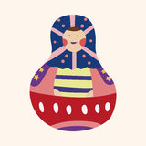 Matryoshka , Russian traditional wooden doll, vector pattern, el Stock Photo