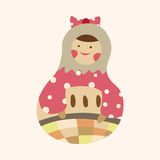 Matryoshka , Russian traditional wooden doll, vector pattern, el Royalty Free Stock Images