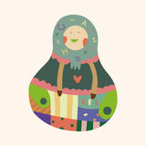 Matryoshka , Russian traditional wooden doll, vector pattern, el Stock Photo