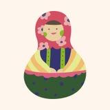 Matryoshka , Russian traditional wooden doll, vector pattern, el Royalty Free Stock Photos
