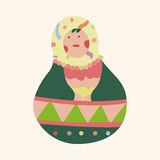Matryoshka , Russian traditional wooden doll, vector pattern, el Royalty Free Stock Image