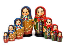 Group russian doll on white background Royalty Free Stock Photo