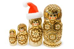 Matryoshka with santa hat isolated Stock Photos