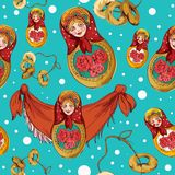 Matryoshka seamless pattern Stock Images