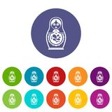 Matryoshka set icons. In different colors isolated on white background Stock Photo