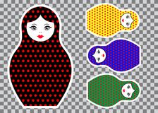 Matryoshka set stickers icon Russian nesting doll with ornament colorful, vector illustration isolated. Decorated polka dots Royalty Free Stock Images