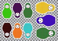 Matryoshka set stickers icon Russian nesting doll with ornament colorful, vector illustration isolated. Decorated polka dots Stock Photography