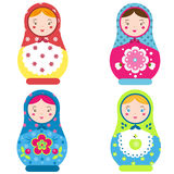 Matryoshka set. Traditional russian nesting dolls. Smiling Matreshka icon. Vector illustration Stock Images