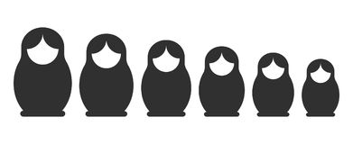 Matryoshka silhouette set. Matryoshka black silhouette set. Russian nesting doll standing in a line, stacking dolls collection. Vector flat style cartoon Royalty Free Stock Photos