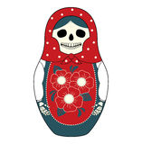 Matryoshka skeleton. Vector illustration of a Russian nesting doll Matryoshka with a skull instead face. Grey and red colors, traditional ornaments.  on white Royalty Free Stock Photos