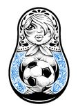 Matryoshka with Tattoos. Russian traditional doll matryoshka with old school tattoos holds soccer ball in her hands. Dot work style vector illustration Royalty Free Stock Photo