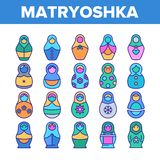 Matryoshka Toy Vector Color Line Icons Set. Matryoshka Toy Vector Thin Line Icons Set. Matryoshka, Traditional Russian Decorative Souvenir Linear Pictograms stock illustration
