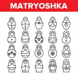 Matryoshka Toy Vector Thin Line Icons Set. Matryoshka, Traditional Russian Decorative Souvenir Linear Pictograms. Matrioshka, Handcrafted Wooden Dolls in vector illustration