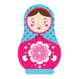 Matryoshka. Traditional russian nesting doll. Smiling Matreshka icon.  Stock Photography