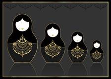 Matryoshka ustalonej ikony gniazdować Rosyjska lala z luksusowym złotym ornamentem, tłem, wektorowym ilustraci, odizolowywającego Zdjęcie Royalty Free