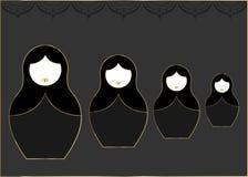 Matryoshka vastgestelde pictogram Russische het nestelen pop met luxe gouden ornament, vectorillustratie, geïsoleerde of zwarte a Royalty-vrije Stock Afbeelding