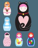 Matryoshka vector traditional russian nesting doll toy with handmade ornament figure pattern with child face and. Babushka woman souvenir painted doll vector Royalty Free Stock Photography