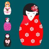 Matryoshka vector traditional russian nesting doll toy with handmade ornament figure pattern with child face and. Babushka woman souvenir painted doll vector Stock Photo