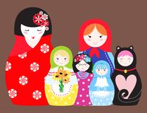Matryoshka vector traditional russian nesting doll toy with handmade ornament figure pattern with child face and. Babushka woman souvenir painted doll vector Royalty Free Stock Photo