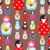 Matryoshka vector traditional russian nesting doll toy with handmade ornament figure pattern with child face and. Matryoshka vector traditional russian nesting Royalty Free Stock Images